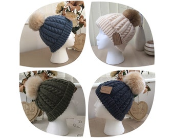 Hand Knit Cable Hat With Faux Fur Pom Pom ( Ready to Ship )