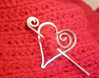 Shawl Pin Heart Silver, Heart Pin, Heart Brooch, Heart Fastener, Heart Jewelry SP5