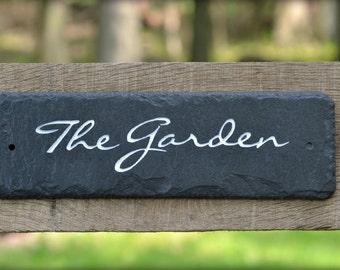 GARDEN Cottage Sign / Carved Black Slate / Gate / Fence / Stone / Marker #E-gar