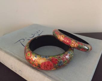 Boho Bangles, Paper Mache Bangles, Vintage Bracelets, Vintage Jewellery