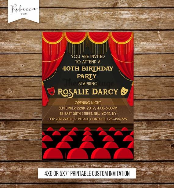 Theater Lovers Invitation: Theatre Invitation Broadway Invitation Broadway Birthday