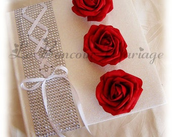 Wedding guestbook red and white corset, rhinestones and pink color choice to customize