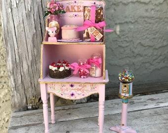 Pink Bakery Set cupboard dollhouse miniatures