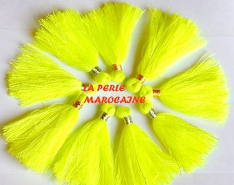 Creation! set of 10 neon yellow color and gold thread + -4 CM TASSEL acryl TASSELS