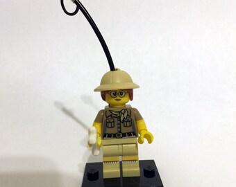 CLEARANCE Custom Female Paleontologist Lego Minifigure Keychain w/ Bone