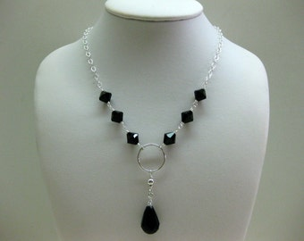 Black Crystal Drop Necklace - FREE SHIPPING
