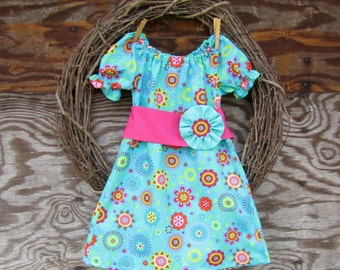 Girls Easter Dress, Girls Aqua blue Dress, Girls Peasant Dress, Kids Spring dress,