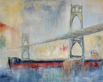 St Johns Bridge and Freighter Giclée Print, St Johns Bridge, Portland Oregon, Giclée Print of Acrylic Painting, Free Shipping