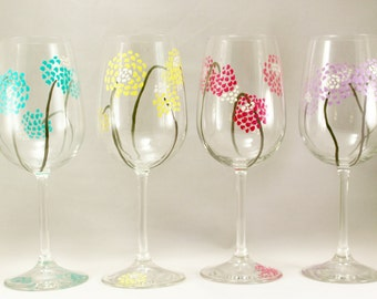 Colorful modern flowers, hand painted wine glasses, painted modern wine glasses, gift for her, set of 4