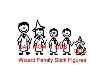 Wizard Family Stick Figure Decals - Dad/Mom/Teens/Youth/Baby/Pets - Family Car Decals - Apply Yourself!