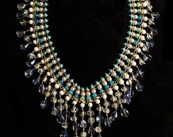 Hand crafted reimagined vintage glass bead chain link necklace signature statement