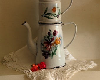 Vintage Charming Romantic French Enamel Coffee Pot With Tulips