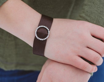 Sparkle Circle and Repurposed Brown Leather Bracelet with Toggle