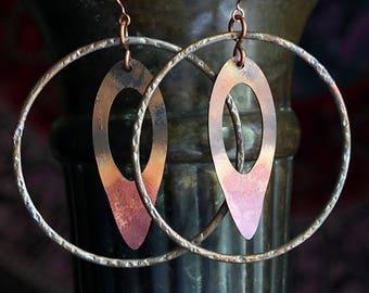 Copper Hammered Hoop Earrings, Rustic Tribal Rolled Copper Patina Earrings Boho Gypsy Hoops Hammered Copper Earrings Jewelry Gifts For Her
