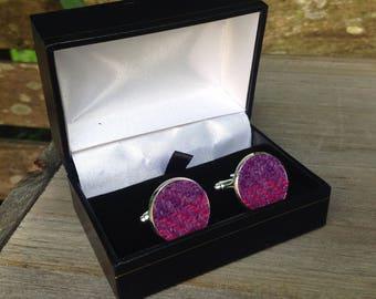 Tweed cuff links in purple pink tweed Father's Day birthday wedding office groomsmen gift
