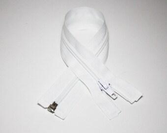 Zip closure, 30 cm, detachable, white