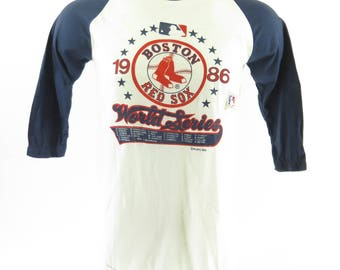 Vintage 80s Boston Red Sox World Series Sport T-Shirt Mens 1986 50 50 Baseball [H93U_0-6]