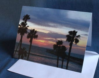 Last Light at San Clemente Pier (Note Card)