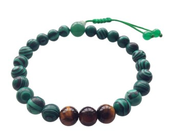 Malachite and Tiger Eye Wrist Mala with Green Jade Guru Bead