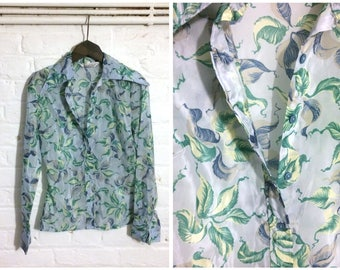 1970s vintage flower print blue shirt blouse top with pointed collar - UK 10 EU 38 US 8 - Seventies Boho Bohemian