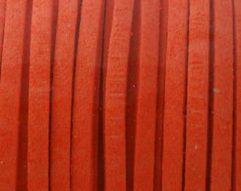 Suede cord blood orange 3mm wide 1 mm thick