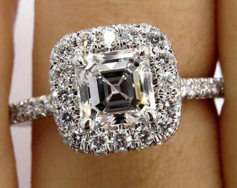 E VVS2 GIA 2.0ct Estate Asscher Square EMERALD cut Diamond Solitaire Engagement Pave 14k WG Ring
