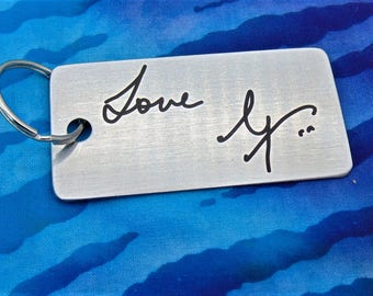 Handwritten Key chain  - Mom's Handwriting -  Engraved - Brushed Stainless Steel Gift