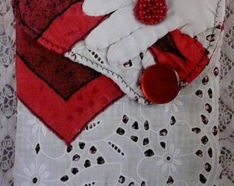 Cross Body Purse,Lady in Red Clutch,Recycled Fabrics,Boho Wallet,Summertime Fun Wear,Art Wear,Artful Accessories,Street Party,Beach Party