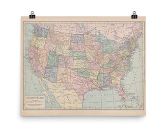 Usa map print Etsy