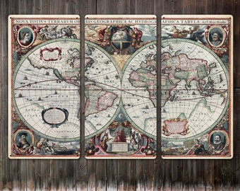 """Vintage World Map METAL triptych 54x36"""" FREE SHIPPING"""
