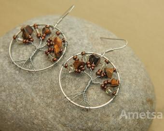 Tree of life/stone earrings fine Œil Tiger/balls / 925 sterling silver hooks