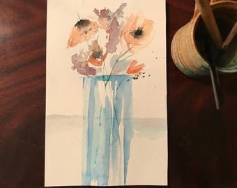 Abstract Watercolor flowers in vase print