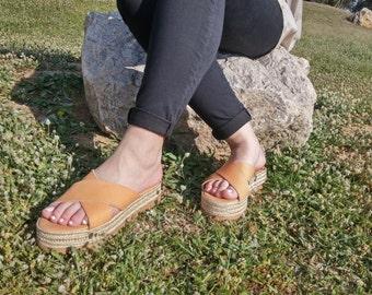 Espadrilles Sandals, Leather Sandals Flatform, Criss Cross Sandals, Platform Sandals Shoes Natural/Black/Rose Gold.