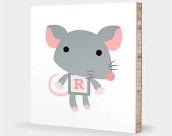 R is for Rat : ABC Block Bamboo Wall Art Series // Alphabet Kids Wall Art Nursery Room Decor Animal Art Baby