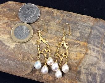 Pearl Chandelier Earrings, Freshwater Pearl Earrings, White Pearl Earrings, Gold Tone Pearl Chandelier Earrings, Gold Earrings, Boho, Bridal