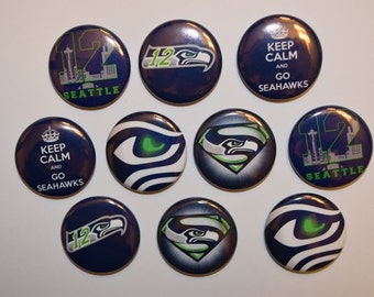 """Seattle Seahawks buttons/ bottle cap / 1"""" buttons / flat back / seahawks / pin / magnet / go hawks buttons / 12th man / hair bows /#17"""