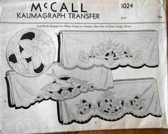 Vintage 1942 Embroidery Transfers, Cutwork Designs for Pillowcases or Towels, McCall Kaumagraph Transfer 1024
