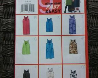 Girls Jumper Pattern Butterick 6234 Sizes 7 8 10, 9 Different Dresses Styles 1999 Girls Dress