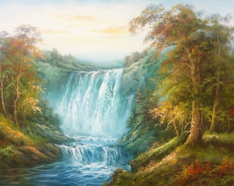 "WATERFALL - Original Oil Painting - 36"" X 48"" Mounted"