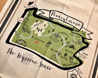 Pennsylvania State Map Kitchen/Tea Towel