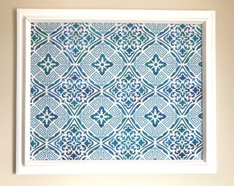 Blue Mosaic Fabric Covered Bulletin Board Jewelry Board