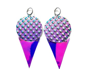 "Holographic Earrings ""Snow Cone"" festival drag rave ethical vegan cruelty free"