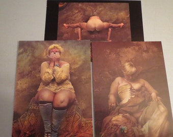 Postcard set-3 pieces-art photos by Jan Saudek-photo cards for collectors in 11 x 16 cm-approx. 4 x 6 inches, art postcards