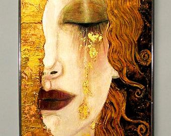 Gustav Klimt.Golden Tears.Stained glass