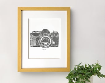 Vintage Camera Printable Art, Illustration, Prints - Gray and White Wall Decor, Grey Smile Inspirationnal Quote - 8x10 Digital Download