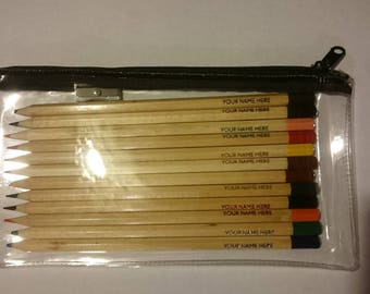 PERSONALISED COLOURING PENCILS x 12 with zip pvc case and sharpener
