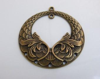 2 x Large Antique Bronze Tone Decorative Chandelier Pendants 64mm x 58mm, Jewellery Supplies, Jewelry, Chams & Pendants, UK Seller (CPX7101)