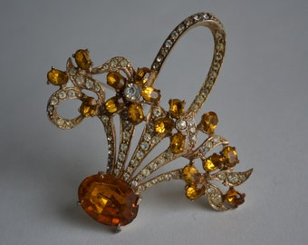 Vintage Joseph Wiesner Rhinestone Brooch - Bridal Basket - Fall Fashion Flowers