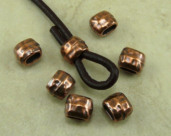 6 TierraCast 4x2mm ID Hammertone Hammered Small Barrel Crimp Spacer Beads > Copper Plated Lead Free Pewter - I ship Internationally 5791