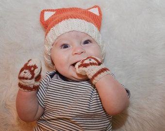 Baby Fox Hat and Mittens Knitting Pattern